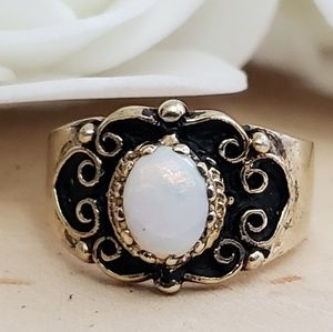 Jewelry - Gold Sterling Silver Genuine Opal Ring Size 5.5
